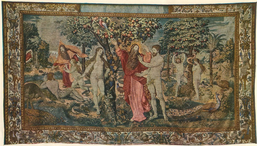 Scenes from the story of creation: The Creation of Adam, The Creation of Eve, God Introduces Eve to Adam, God Forbids Eating the Fruit of the Free, The Original Sin, The Expulsion from Paradise, Brussels, ca. 1550, Wawel Royal Castle, photo: Wikipedia