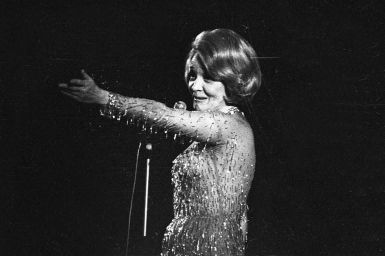The Austrian artist Marlena Dietrich performed at the Sala Kongresowa (Congress Auditorium), 1964, photo:Zbyszko Siemaszko / Forum
