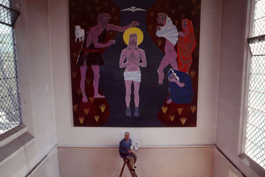 Marek Żuławski working on The Baptism of Jesus Christ, displayed in Our Lady's Church in St John's Wood, 1982, photo: family archive