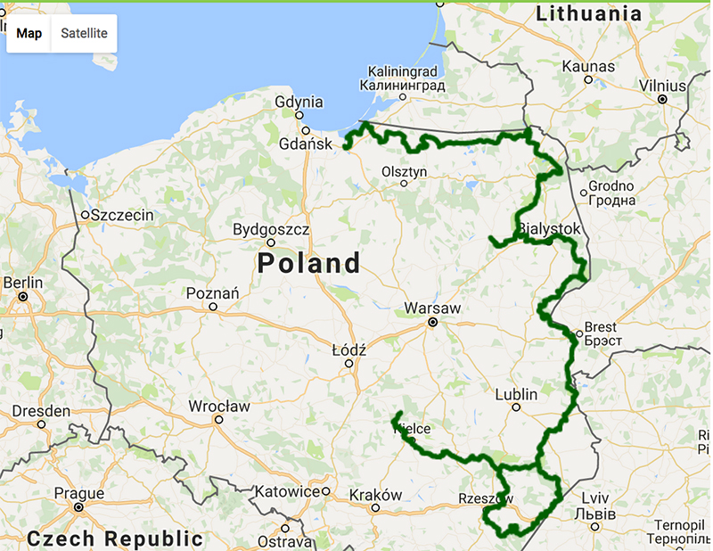 Screenshot of the interactive map of the Green Velo route, photo: greenvelo.pl