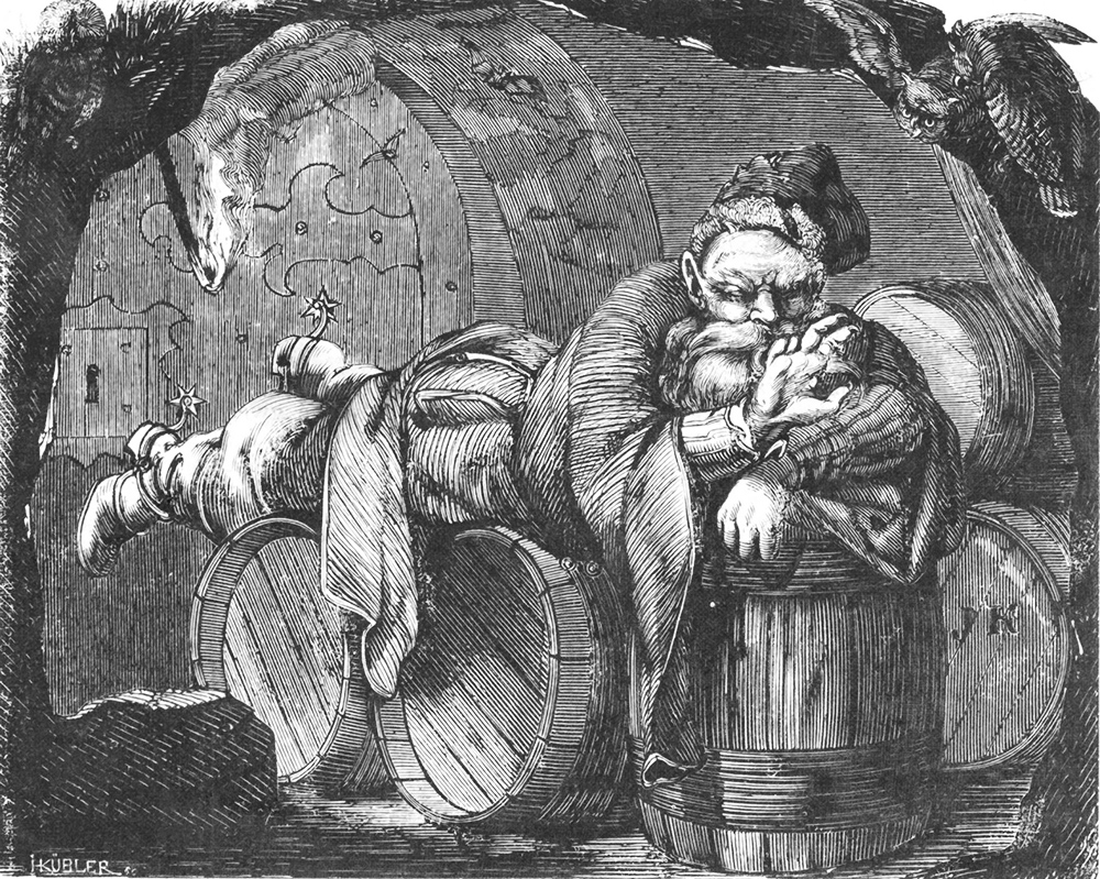 Boruta sucking on the stumps of his fingers cut off in a duel. Woodcut from the periodical Tygodnik Ilustrowany after J. Kossak's concept, made by H. Kubler 1860-1870