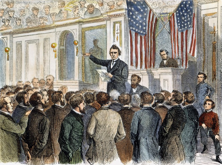Thaddeus Stevens closing the debate in the House of Representatives on the proposed impeachment of President Andrew Johnson, 2 March 1868: colored wood engraving from a contemporary American newspaper., photo: The Granger Collection, New / Forum