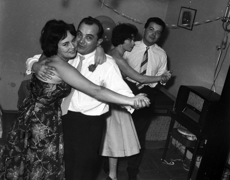 New Year's Eve Celebration. Pictured: Andrzej Marczak with his partner, 1958, Warsaw, photo: Andrzej Marczak / Forum
