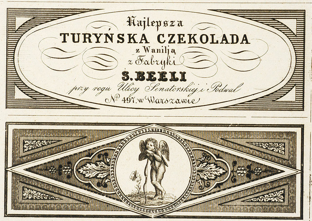 The finest Turin chocolate with vanilla manufactured by S. Beela, 1801-1900, photo: Digital National Library Polona