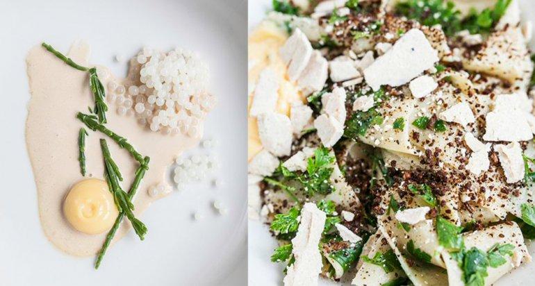 Ikra ślimaka z wędzoną śmietaną, słonym zielem i kremem cytrynowym, wstążki z Kozią Chałwą, pomarańczowym zabajone, suszonym pumperniklem i natką pietruszk, photo:  Solec 44 restaurant