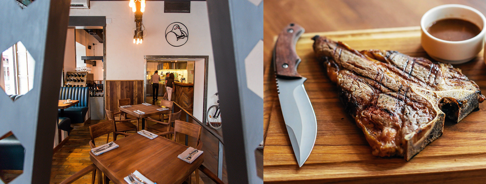 Wnętrze restauracji Ed Red oraz steki z klasycznymi francuskimi sosami, fot. Mateusz Skwarczek / AG