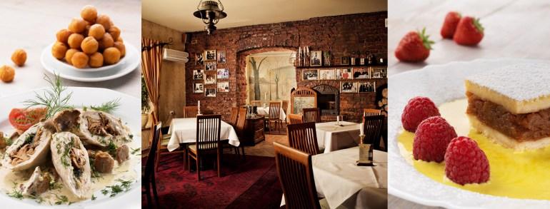 Restauracja Pod Baranem, na zdjęciu: roladki sasa, wnętrze restauracji oraz  szarlotka, fot. Monoko Studio 2014