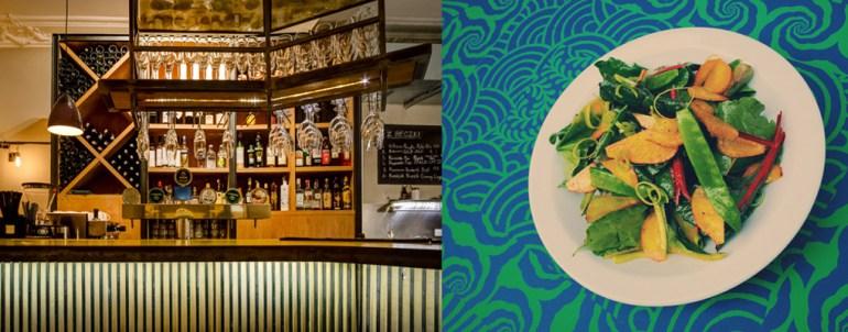 """Wnętrze restauracji """"Bibenda"""" oraz danie mangold, złote buraki, groszek cukrowy, por, estragonowo-miodowy dressing, fot. dzięki uprzejmości restauracji"""