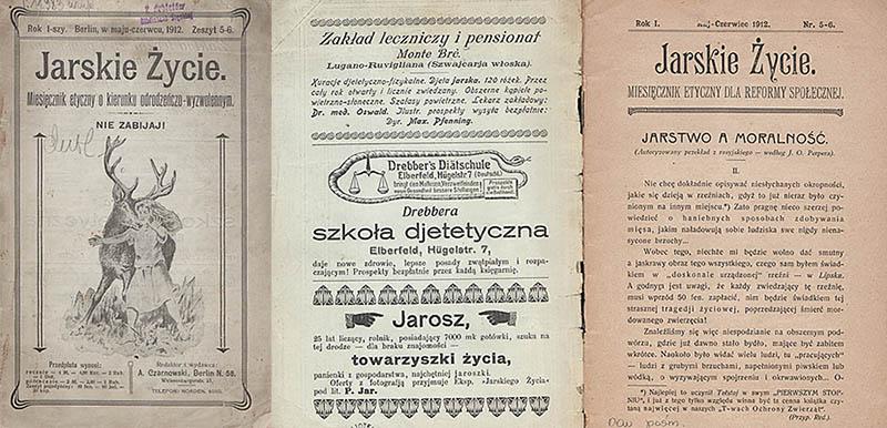 """Rozkładówki z czasopisma  """"Jarskie Życie - miesięcznik etyczny dla reformy społecznej"""", autor:August Czarnowski , 1912, fot. Cyfrowa Biblioteka Narodowa, www.polona.pl"""