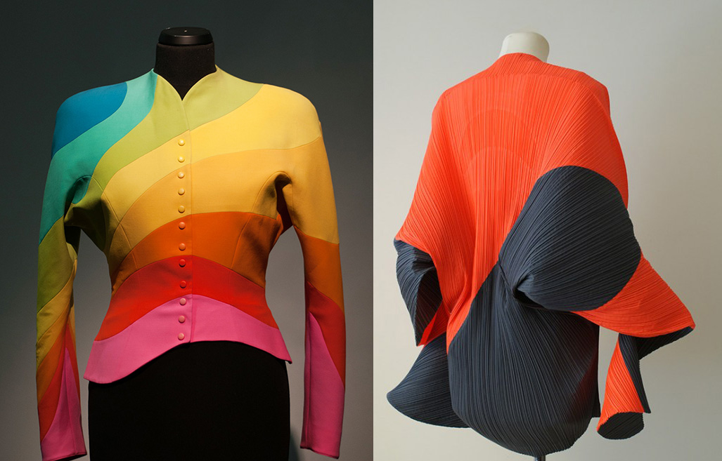 Woollen jacket by Thierry Mugler, 1990, & a tunic by Issey Miyake, 1990, photo: CSW Toruń