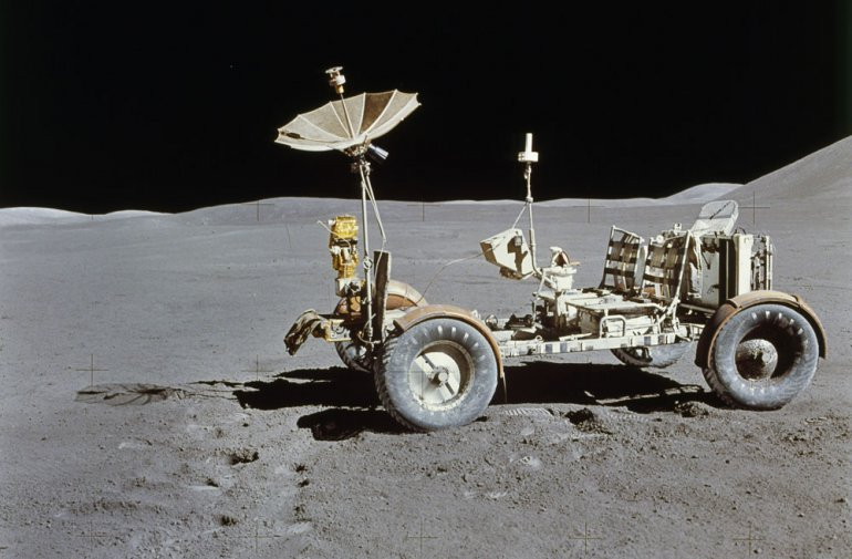 Apollo 15, Lunar Roving Vehicle (LRV) on the surface of the moon, 1 August 1971. Photographed by astronaut David Scott / The Granger Collection, New York / Forum