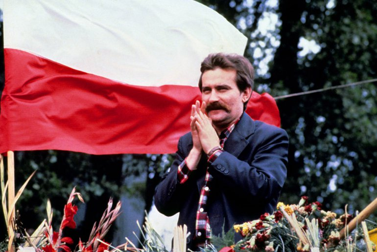 Lech Wałęsa polish union activist leader during a speech to striker of Lenin Shipyard in Gdansk august 31, 1980