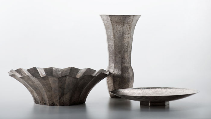 Julia Keilowa, bowl, vase and epergne, hand forged, 1930s, collections of the National Museum in Warsaw, photo: Michał Korta