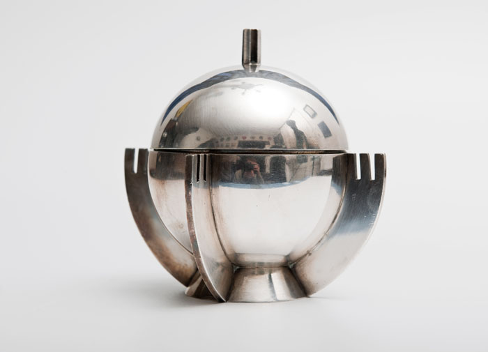 "Julia Keilowa, ""Royal Apple"", sugar bowl, produced by the J. Fraget Silver and Plated Products Factory in Warsaw, 1933. Private collection"