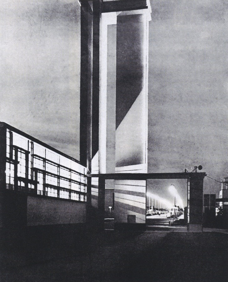 The Artificial Fertilizer Pavilion, designed by Szymon Syrkus, at the Nationwide Exhibition in Poznań, 1929 photo: reproduction of a drawing from 'Praesens' magazin, 1929, no.1,p.71