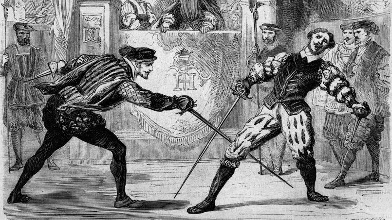 Henri II looks as Guy Chabot delivers the decisive blow to Francois de Vivonne, a 19th century engraving, photo: public domain