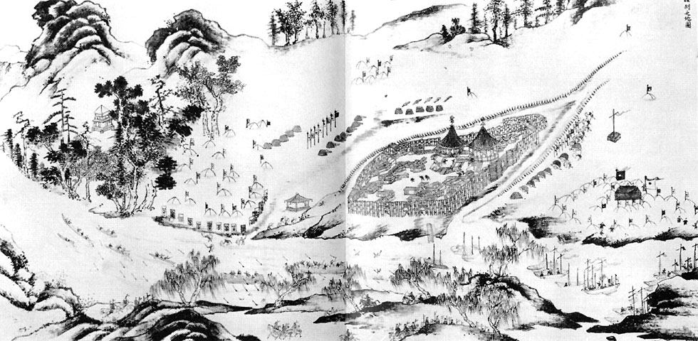Albazin under siege, a 17th century Chinese drawing.