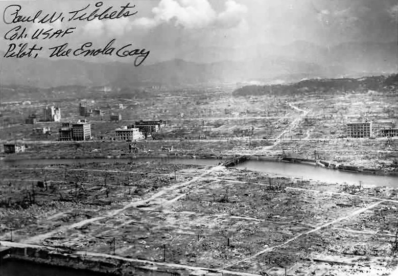 Photo of Hiroshima after it was bombed, autographed by Enola Gay bomber pilot Paul Tibbets, photo: Wikipedia