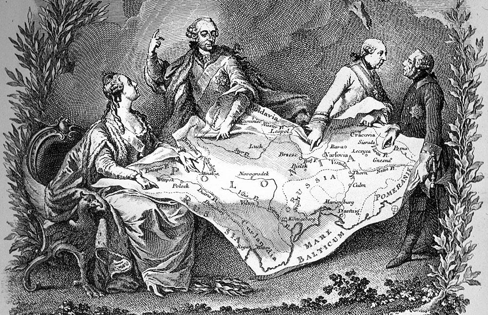 Иоганнес Нильсон «Ситуация Королевства Польского» (1774, фрагмент), версия популярной гравюры французского художника Ноэля ле Мира, аллегорически изображающей первый раздел Речи Посполитой и известной под названием «Королевский пирог», или «Le gateau des rois» (1773), источник: Wikipedia