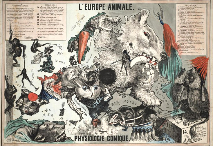 The European Animal, a satirical map made by A. Belloquet in 1882, photo: public domain