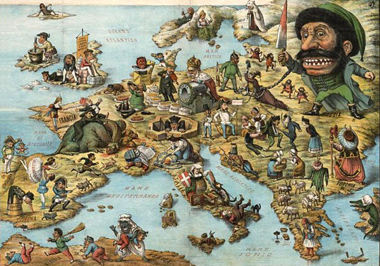 Political comic map of Europe with verse relating to nations, suggests date of 1871, photo: public domain