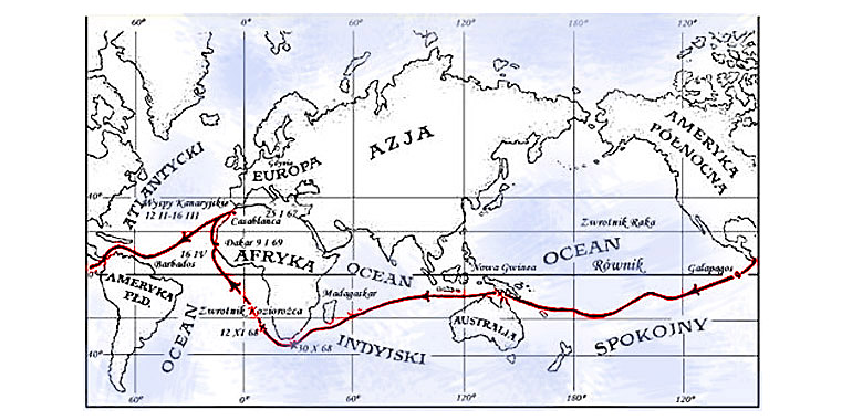 Teliga's route circumnavigating the world