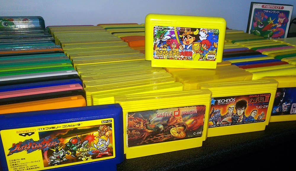 A collection of Famicom game cartridges, photo: YouTube