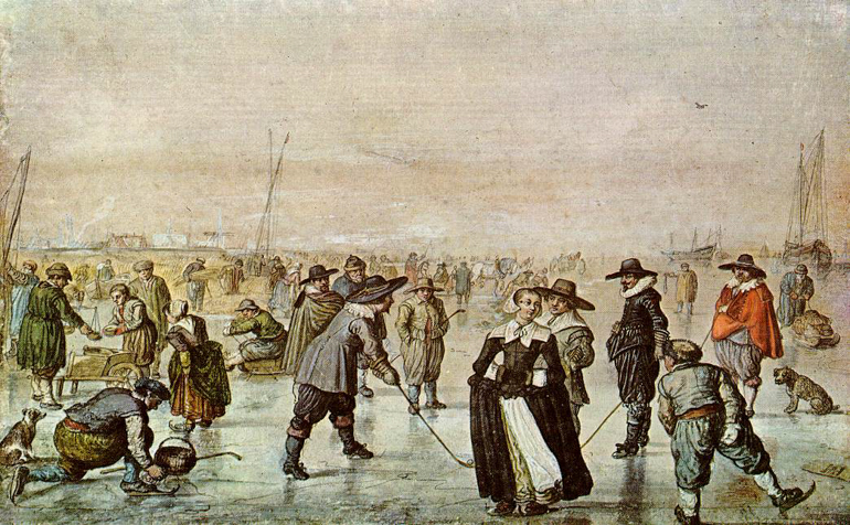 Skating fun, a traditional rural scene by 17th-century Dutch painter Hendrick Avercamp, source: wikimedia