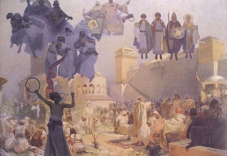 Slavs in their Original Homeland: Between the Turanian Whip and the sword of the Goths, painting by Alfons Mucha, 1912, photo: wikimedia