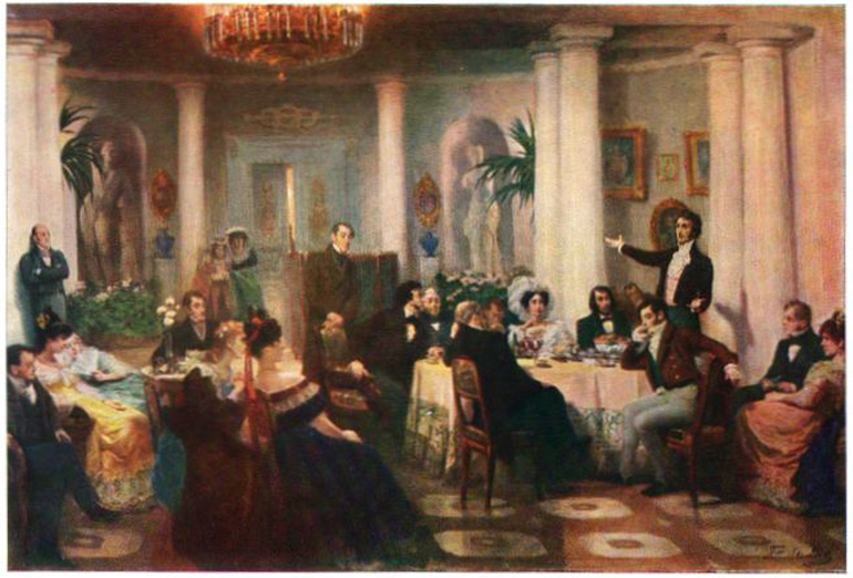 Mickiewicz improvises in French in Moscow, Grigoriy Myasoyedov painting, photo: Wikipedia
