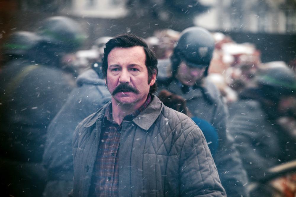 Robert Więckiewicz as Wałęsa in Andrzej Wajda's film, photo: Marcin Makowski / MAKUFLY / Akson Studio