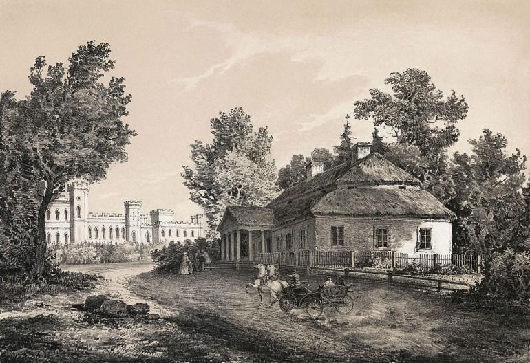 The Kościuszko family manor in Merachoushchyna (today Belarus) drawn by Napoleon Orda; Source: Wikimedia/Commons