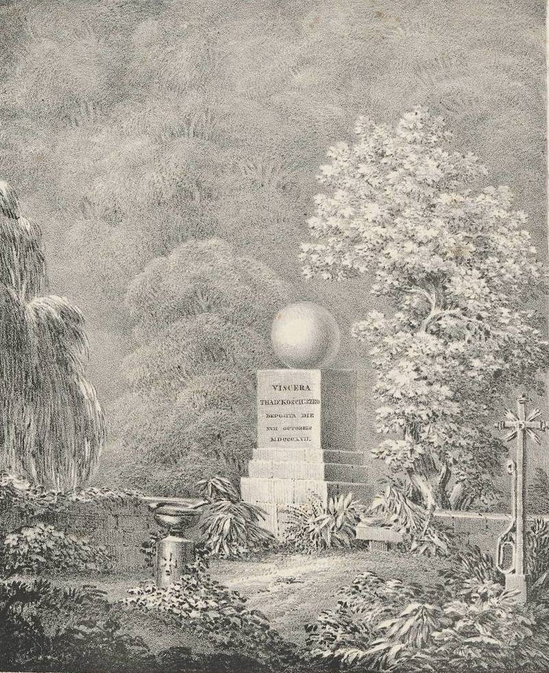 The monument of Kosciuszko at Solothurne, Switzerland; drawing by Zugmunt Vogel, 1824, source: National Museum in Warsaw