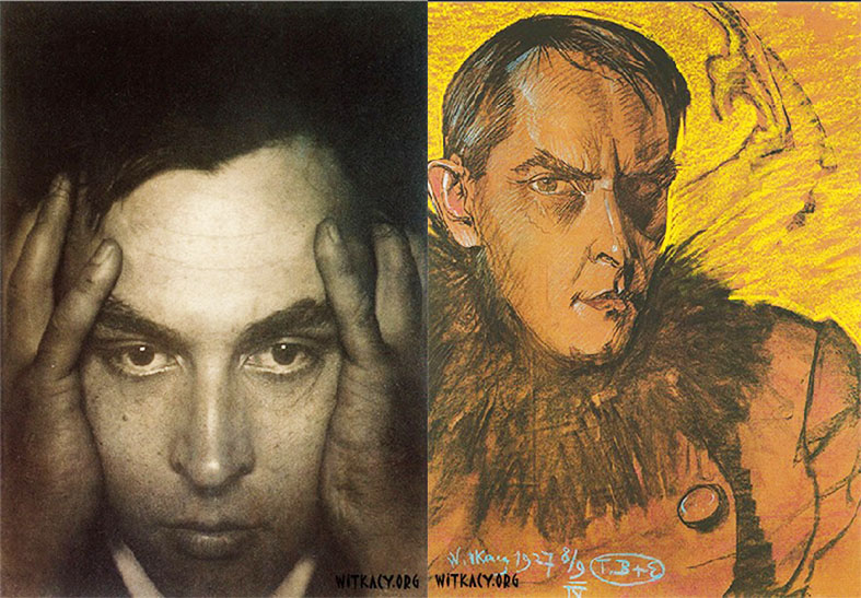 Witkacy's selfportraits, photography from 1912 and pastel from 1927, photo source: www.witkacy.org
