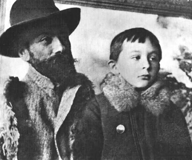 Stanisław Igancy Witkiewicz with his father, 1893, photo from The Tatra Museum in Zakopane