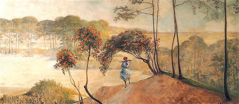 Jacek Malczewski, Go to the Streams (left part of the triptych), 1909-1920, oil on cardboard, photo: National Museum in Warsaw