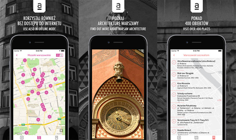 The Archimapa application visuals, image: press materials of the Warsaw Uprising Museum and Moiseum