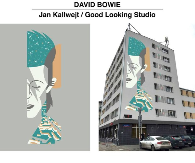 Jan Kallwejt, concept design for David Bowie mural in Warsaw, 2016, photo: promo materials