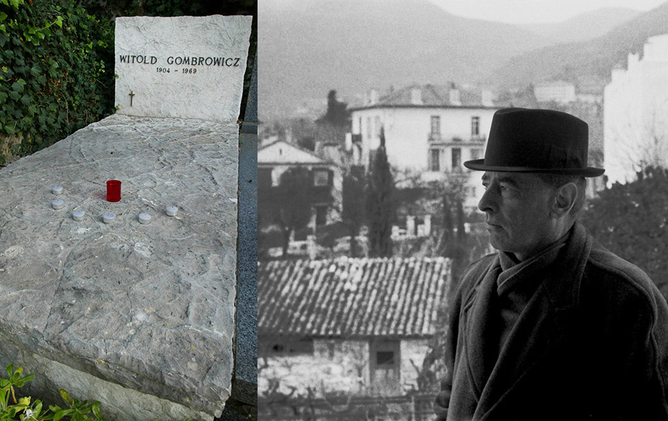 Witold Gombrowicz grave in Vence. photo: Mice Matin / PHOTOPQR / Forum, Witold Gombrowicz, Vence, 1965, photo: Bohdan Paczowski,