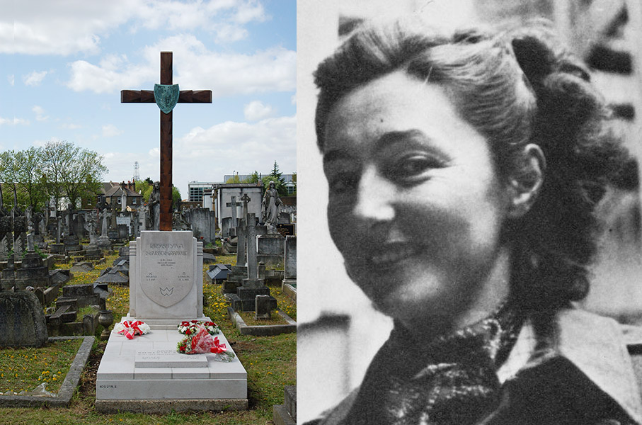 Katarzyna Skarbek's grave, Kensal Green, London, photo: Dobry 77 / wikipedia.orga and Christine Granville (Countess Krystyna Skarbek) in Algiers, 1944, photo: Imperial War Museum