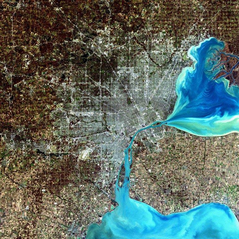 Detroit, zdjecie satelitarne NASA