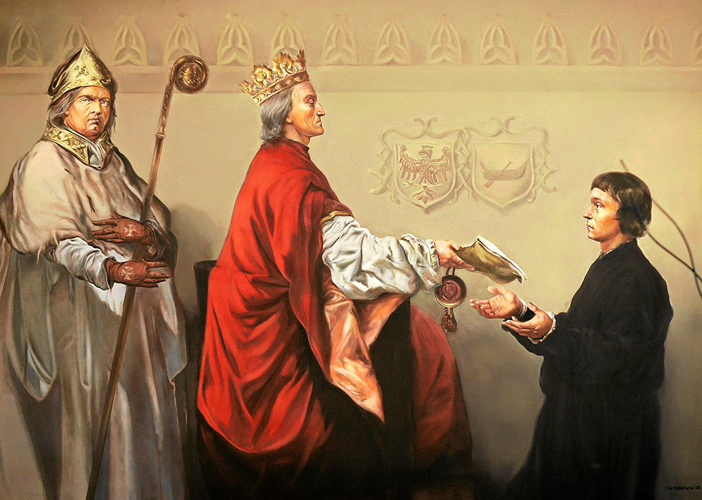A reproduction of a painting, showing Władysław Jagiełło giving Łódź the legal status of a city, the painting is located at the Łódź City Office; photo: Tomasz Stańczak/AG