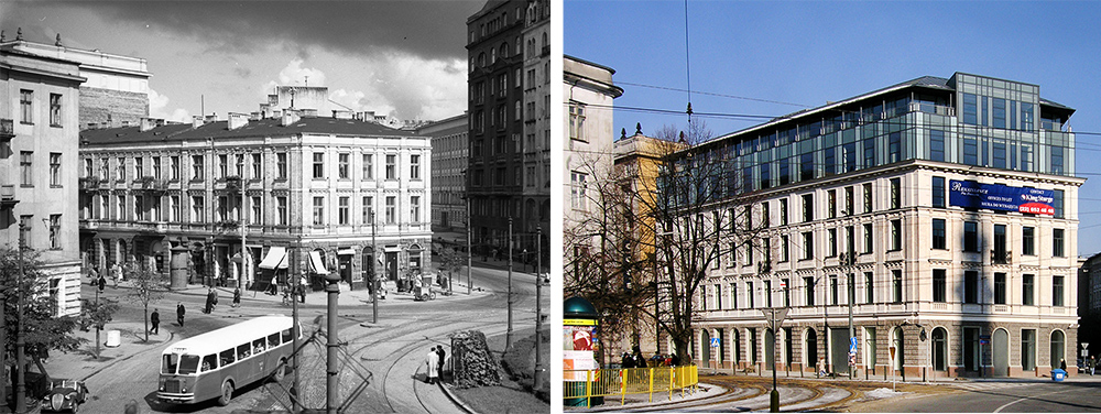 The Pawłowicz House in Plac Zbawiciela square, 1957, photo: Zbyszko Siemaszko/Forum. The Renaissance building, 2016, photo: Krzysztof Chojnacki/East News
