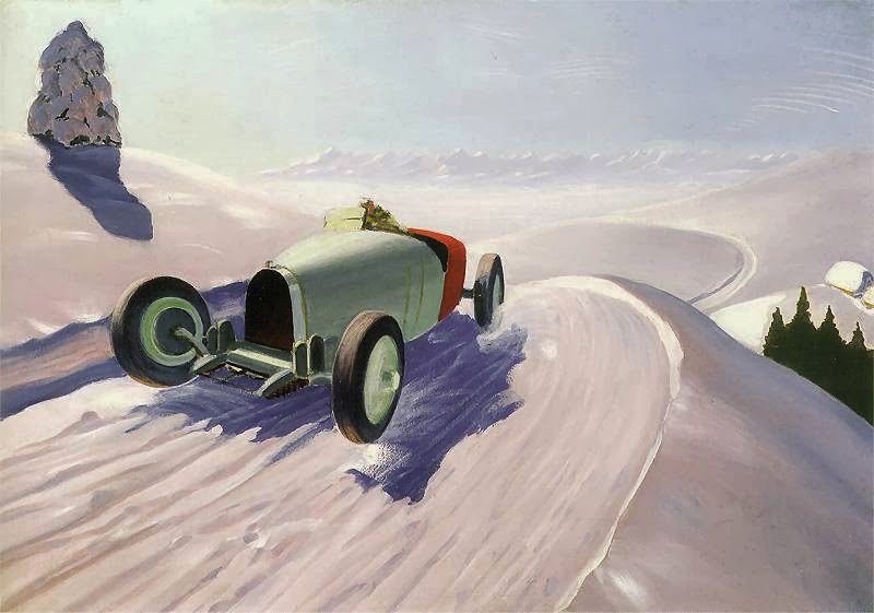 Рафал Мальчевский, «Автомобиль на фоне зимнего пейзажа». Фоторепродукция: Дагмара Смольна