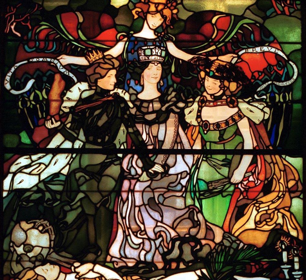 """Józef Mehoffer, witraż """"Vita somnium brevepo"""", 1906 na podstawie kartonu z 1904, dom Józefa Mehoffera  w Krakowie, fot. Adam Golec/AG"""