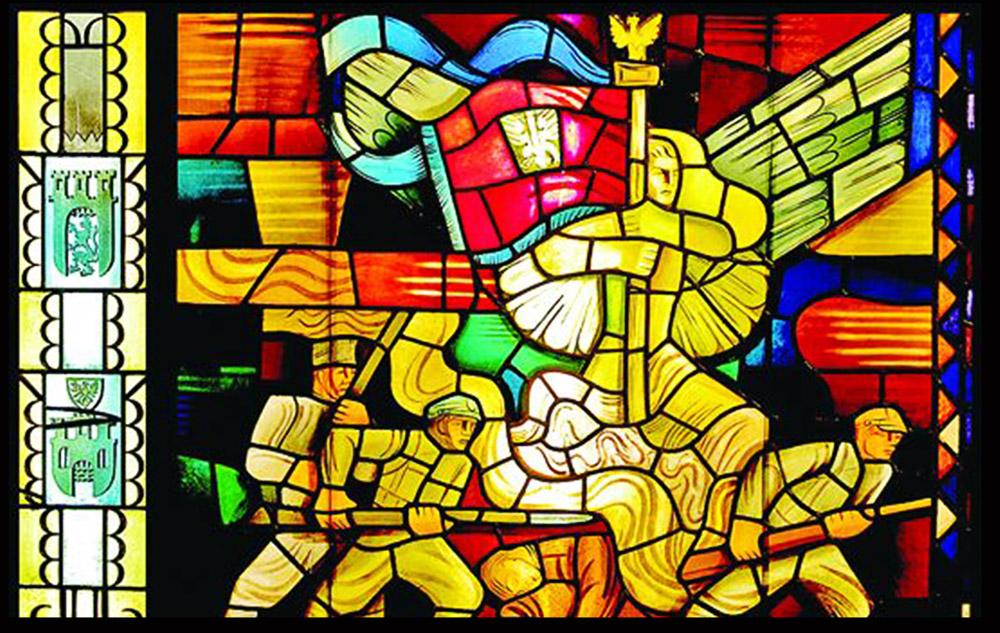 """Witraż """"Symbol Polski Odrodzonej"""" autorstwa Mieczysława Jurgielewicza (1900–1983) zrealizowane na Wystawę Światową w Nowym Jorku w 1939, fot. Muzeum Polskim w Chicago"""