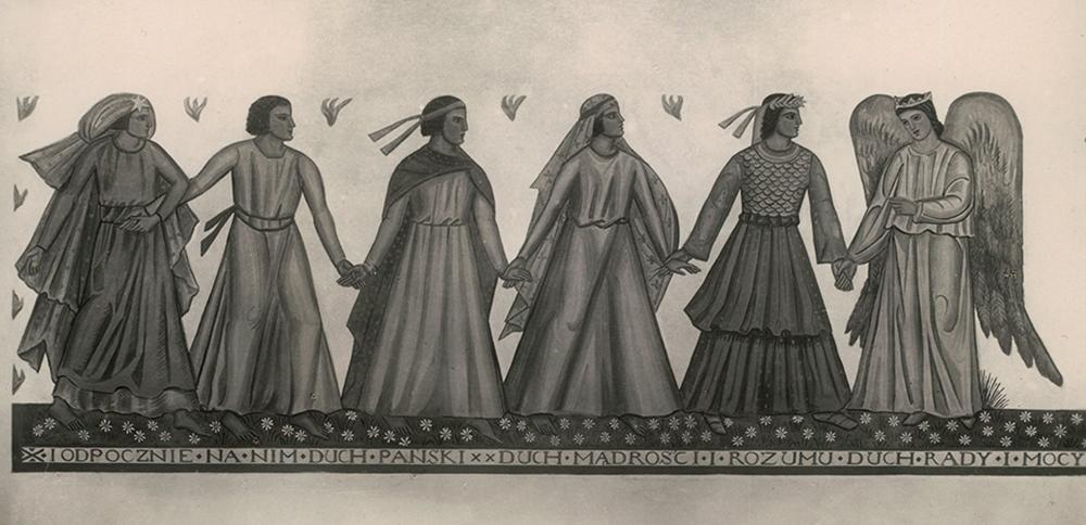 Siedem darów Ducha Świętego z polichromii autorstwa Zofii Baudouin de Courtenay z kościoła w Bielawach, 1932, fot. Biblioteka Narodowa (Polona)