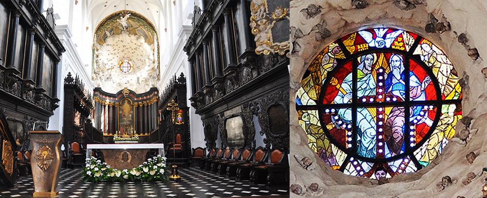 Prezbiterium w Katedrze Oliwskiej oraz witraż przedstawiający Trójcę Świętą autorstwa Zofii Baudouin de Courtenay, 1945, fot. www.archikatedraoliwa.p