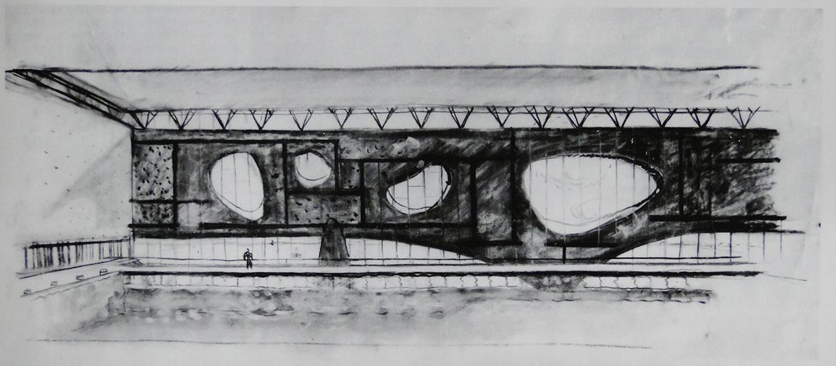 """SKS """"Warszawianka""""widok wnętrza basenu krytego ze ścianą pokrytą słynnymi dziurami od sera, ok. 1956, wg. """"Jerzy Sołtan Monografia"""", 1995, fot. Akademii Sztuk Pięknych"""