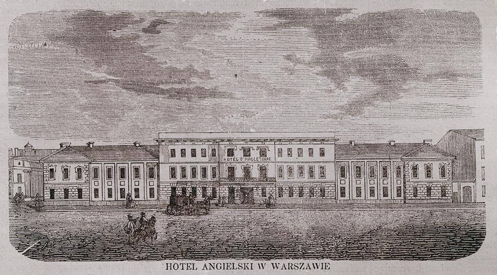 Отель «Английский» в Варшаве, репордукция ксилографии неизвестного автора, напечатанная в журнале «Tygodnik Ilustrowany» 1859 года, № 9, стр. 69, фото: BN Polona
